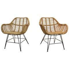 Dutch Wicker and Steel Chairs