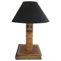 Book Table Lamp Leather Bound, Early 20th Century