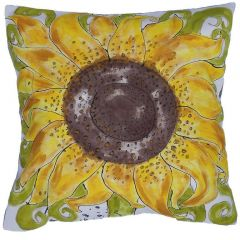 Contemporary Hand Painted Joan Collier Sunflower Cushion