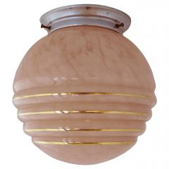 Art Deco Flushmount Light or Side Lamp Glass Shade, circa 1930