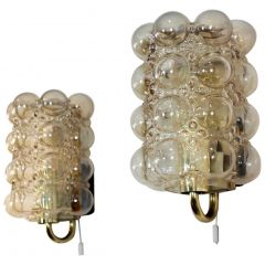 Pair of Helena Tynell Bubble Glass and Brass Sconces for Glashütte Limburg