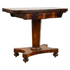 19th Century English William IV Rosewood Fold Over Card Table