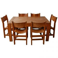 Maison Regain Elm and Leather Midcentury Dining Chairs, '6'