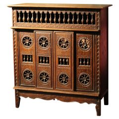 French 19th Century Hand Carved Walnut Wood Four Doors Miniature Chest