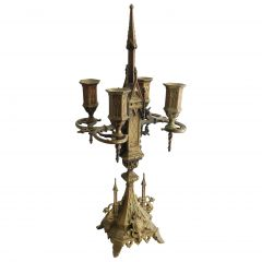 Gothic Candlestick Bronze Four Candles, circa 19th Century, French