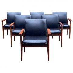 Finn Juhl Model 209 Diplomat Chairs in Rosewood & Leather Set of Six, Cado 1965