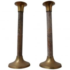 Pair of Marble and Brass Midcentury Candlesticks