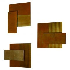 Geometric Brass Wall Candle Holders and Wall Geometric Relief