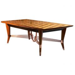 Jules Leleu Art Deco Maple Extending Dining Table, France, 1950