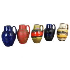"Set of Five Vintage Pottery Fat Lava ""414-16"" Vases Made by Scheurich, Germany"