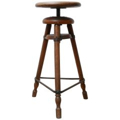 Antique French Artist Wooden Adjustable Stool