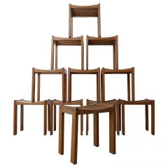 Midcentury French Blonde Oak Stools in the Manner of Guillerme et Chambron '11'