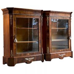 Antique Pair of Walnut Pier Cabinets Victorian, circa 1880