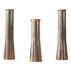 Trio of Metal Midcentury French Candlesticks of Rocket Form