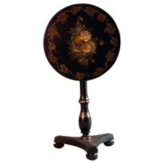 19th Century Victorian Japanned Lacquer and Papier Mâché Tilt-Top Table circa 18