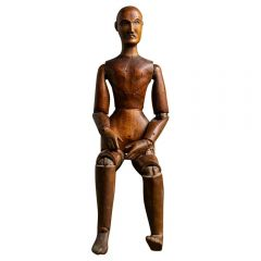 Antique French Carved Wood Lay or Artist Figure or Model