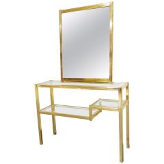 Brass Console Table with Mirror, 1970s