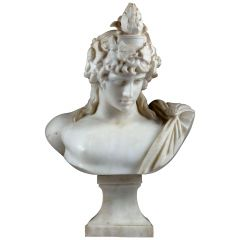 19th Century Statuary Marble Bust of the Braschi Antinous as Dionysus, Signed