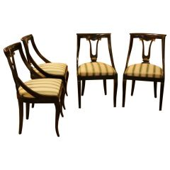French 18th Century Directoire Mahogany Chairs with Silk Blended Upholster