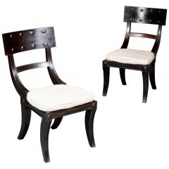 Long Set of 12 Twelve Ebony Klismos Dining Chairs