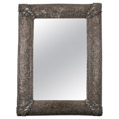 19th Century Solid Silver Mughal Indian Repoussé Mirror Frame