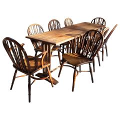 Set of Eight Wheel Back Elm and Yew Windsor Chairs