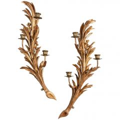 Exceptional Pair of Carved Giltwood Wall Sconces
