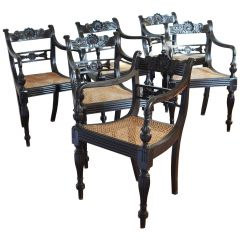 Set of Six 19th century Anglo-Indian Ebony Armchairs
