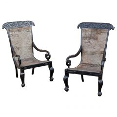 Pair of 19th Century Anglo-Indian Solid Ebony Caned Armchairs