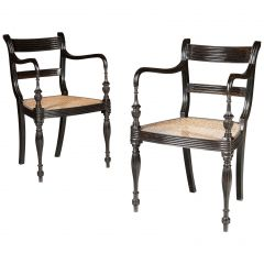Set of 14 Ebony Anglo-Indian Dining Chairs