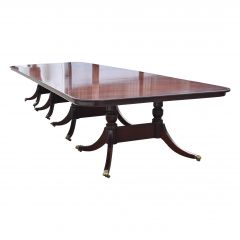 George III Style Mahogany Four Pillar Extending Dining Table
