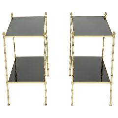 Pair of French Maison Baguès Bamboo Brass Black Top Two-Tier End Tables, 1960s