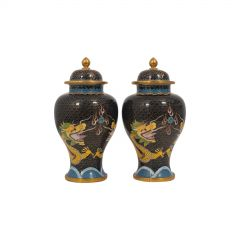 Antique Decorative Spice Jars, Chinese, Cloisonné, Baluster Urn circa 1900, Pair