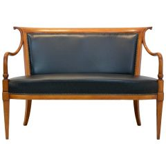 Exclusive Italian 'Directoire' Two-Seat Sofa by Selva in Solid Beech and Leather