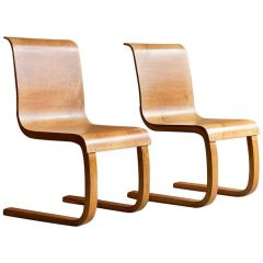 Alvar Aalto Model 21 Cantilever Side Chairs by Finmar, Pair, Finland, circa 1935