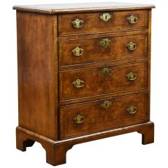 20th Century Queen Anne Style Burl Walnut Chest of Drawers