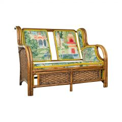 Vintage Colonial Loveseat, English, Bamboo, Bench, Sofa, Late 20th Century, 1970