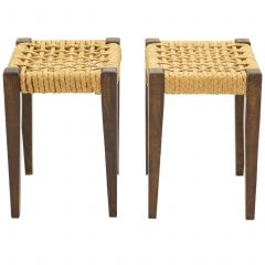 Pair of Stools Rope and Oakwood by Audoux Minet, 1950s