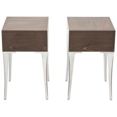 French Ebony Steel End Tables Nightstands, 1970s