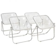 Plona Folding Chairs in Clear Lucite by Castelli, circa 1970