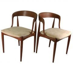 Set of Two Restored Danish Johannes Anderasen Chairs in Teak, Inc- Reupholstery