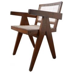 Pierre Jeanneret Teak and Cane Midcentury Chandigarh Office Chair