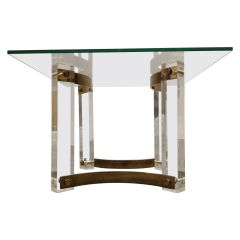 Brass and Lucite Coffee Table, 1970s