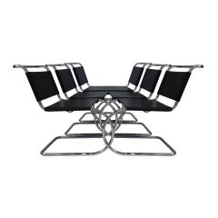 6 black leather & chrome Mies van der Rohe MR10 chairs for Knoll International