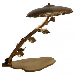 Mid Century Brass Table Lamp with Leafs, 1970s