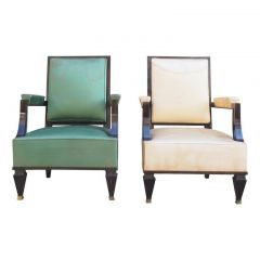 Fine Pair of Grand Armchairs Attributed to Andre Arbus