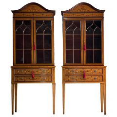 Pair of Sheraton Revival Style Display Cabinets Bookcases Satinwood, Circa 1998