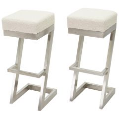 Set of Two French Brushed Steel Bouclé Bar Stools, 1970s