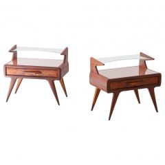Fully Restored Pair of Italian Mahogany Bedside Tables with Glass Top, 1950s