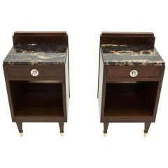French Art Deco Rosewood Brass Marble Nightstands, 1940s